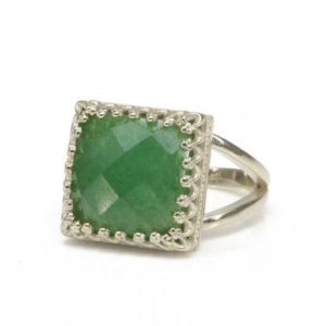 Shop Aventurine Rings! Sterling Silver Aventurine Ring · Silver Stone Ring · Square Statement Ring · Gifts For Mom · Vintage Green Ring · Lucky Ring | Natural genuine Aventurine rings, simple unique handcrafted gemstone rings. #rings #jewelry #shopping #gift #handmade #fashion #style #affiliate #ad
