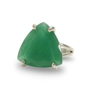 Shop Aventurine Rings! Sterling Silver Natural Aventurine Ring · Green Aventurine Ring · Gold Trillion Gemstone Ring · Trilliant Ring For Women · Birthday Ring | Natural genuine Aventurine rings, simple unique handcrafted gemstone rings. #rings #jewelry #shopping #gift #handmade #fashion #style #affiliate #ad