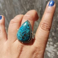 Unique Azurite Ring, natural Azurite Ring 925 Sterling Silver Ring Boho Statement Ring, azurite Jewellery, gift For Mom Wife Sis | Natural genuine Gemstone jewelry. Buy crystal jewelry, handmade handcrafted artisan jewelry for women.  Unique handmade gift ideas. #jewelry #beadedjewelry #beadedjewelry #gift #shopping #handmadejewelry #fashion #style #product #jewelry #affiliate #ad