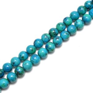 """Shop Azurite Beads! 2.0mm Hole Azurite Smooth Round Beads Size 6mm 8mm 10mm 15.5"""" Strand   Natural genuine beads Azurite beads for beading and jewelry making.  #jewelry #beads #beadedjewelry #diyjewelry #jewelrymaking #beadstore #beading #affiliate #ad"""