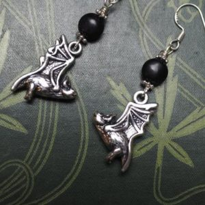 Shop Jet Earrings! Bat and Lignite Jet Earrings with Sterling Silver Earwires – Wicca, Witchcraft, Pagan, Samhain, Halloween | Natural genuine Jet earrings. Buy crystal jewelry, handmade handcrafted artisan jewelry for women.  Unique handmade gift ideas. #jewelry #beadedearrings #beadedjewelry #gift #shopping #handmadejewelry #fashion #style #product #earrings #affiliate #ad