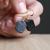 Black Tourmaline Earrings Gold . Protection Earrings . Raw Stone Earrings Dangle | Natural genuine Gemstone jewelry. Buy crystal jewelry, handmade handcrafted artisan jewelry for women.  Unique handmade gift ideas. #jewelry #beadedjewelry #beadedjewelry #gift #shopping #handmadejewelry #fashion #style #product #jewelry #affiliate #ad