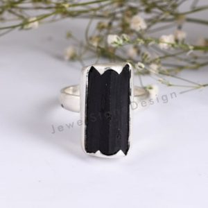 Shop Black Tourmaline Rings! Black Tourmaline Ring, Raw Black Tourmaline Ring, 925 Sterling Silver Black Tourmaline Ring, Gemstone Silver Ring, Silver Ring | Natural genuine Black Tourmaline rings, simple unique handcrafted gemstone rings. #rings #jewelry #shopping #gift #handmade #fashion #style #affiliate #ad
