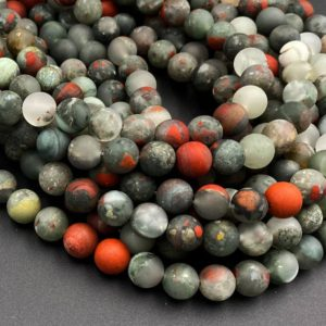 """Matte Natural African Bloodstone 4mm 6mm 8mm 10mm Round Beads 15.5"""" Strand 