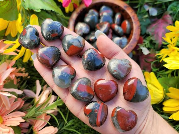 One Small Puffy Bloodstone Heart   Seftonite Stone   Healing Crystals   Bloodstone - Reiki-no.260