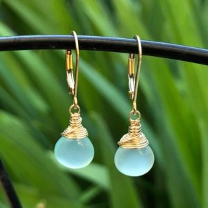 Shop Blue Chalcedony Jewelry! Blue Chalcedony Earrings Gold Filled wrapped natural gemstone simple small dainty dangle drops minimalist everyday gift for her women 6408 | Natural genuine Blue Chalcedony jewelry. Buy crystal jewelry, handmade handcrafted artisan jewelry for women.  Unique handmade gift ideas. #jewelry #beadedjewelry #beadedjewelry #gift #shopping #handmadejewelry #fashion #style #product #jewelry #affiliate #ad