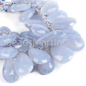 Shop Blue Chalcedony Beads! Blue Chalcedony Faceted Pear Shape Natural Beads, Natural Chalcedony Beads, Chalcedony Faceted Pear Shape Beads, Blue Chalcedony Beads | Natural genuine faceted Blue Chalcedony beads for beading and jewelry making.  #jewelry #beads #beadedjewelry #diyjewelry #jewelrymaking #beadstore #beading #affiliate #ad