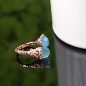 Shop Blue Chalcedony Rings! Blue Chalcedony Ring, Gemstone Ring, Adjustable Ring, Brass Ring, Cut Stone Ring,  Handmade Ring For Her, Rings For Women, Unique Ring, gift | Natural genuine Blue Chalcedony rings, simple unique handcrafted gemstone rings. #rings #jewelry #shopping #gift #handmade #fashion #style #affiliate #ad