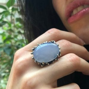 Shop Blue Chalcedony Rings! Chalcedony Ring, Natural Blue Chalcedony, Statement Ring, Vintage Ring, Lilac Ring, Rough Ring Design,Large Oval Ring, Solid Silver Ring | Natural genuine Blue Chalcedony rings, simple unique handcrafted gemstone rings. #rings #jewelry #shopping #gift #handmade #fashion #style #affiliate #ad