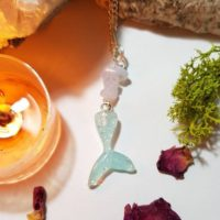 Calming Blue Lace Agate Mermaid Tail Necklace | Natural genuine Gemstone jewelry. Buy crystal jewelry, handmade handcrafted artisan jewelry for women.  Unique handmade gift ideas. #jewelry #beadedjewelry #beadedjewelry #gift #shopping #handmadejewelry #fashion #style #product #jewelry #affiliate #ad