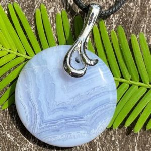 Shop Blue Lace Agate Necklaces! Blue Lace Agate Healing Stone Necklace with Positive Healing Energy! | Natural genuine Blue Lace Agate necklaces. Buy crystal jewelry, handmade handcrafted artisan jewelry for women.  Unique handmade gift ideas. #jewelry #beadednecklaces #beadedjewelry #gift #shopping #handmadejewelry #fashion #style #product #necklaces #affiliate #ad