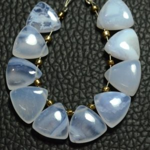 Shop Blue Lace Agate Bead Shapes! Natural Blue Lace Agate Trillion Beads 10mm Smooth Trillion Shape Briolettes Gemstone Beads Superb Blue Lace Agate Stone (10 Pieces) No4961   Natural genuine other-shape Blue Lace Agate beads for beading and jewelry making.  #jewelry #beads #beadedjewelry #diyjewelry #jewelrymaking #beadstore #beading #affiliate #ad