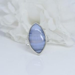 Shop Blue Lace Agate Rings! Blue Lace Agate Ring, 925 Sterling Silver Ring, Marquise Shape Gemstone Ring, Simple Band Ring, Bezel Set Ring, Cabochon Gemstone Ring, Gift   Natural genuine Blue Lace Agate rings, simple unique handcrafted gemstone rings. #rings #jewelry #shopping #gift #handmade #fashion #style #affiliate #ad