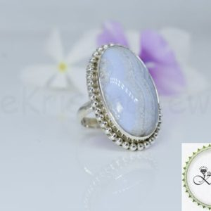 Shop Blue Lace Agate Rings! Crazy Blue Lace Agate Ring, 925 Sterling Silver Ring, Oval Gemstone Ring, Cabochon Gemstone, Simple Band Ring, Twisted Bezel Set, Boho, Gift   Natural genuine Blue Lace Agate rings, simple unique handcrafted gemstone rings. #rings #jewelry #shopping #gift #handmade #fashion #style #affiliate #ad