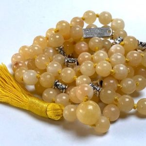 Shop Calcite Necklaces! 8 mm AAA Grade Yellow Calcite Mala Beads Necklace, Calcite Jewelry, Calcite Wrap Mala, Calcite knotted mala beads, | Natural genuine Calcite necklaces. Buy crystal jewelry, handmade handcrafted artisan jewelry for women.  Unique handmade gift ideas. #jewelry #beadednecklaces #beadedjewelry #gift #shopping #handmadejewelry #fashion #style #product #necklaces #affiliate #ad