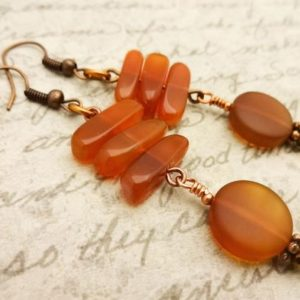 Shop Carnelian Earrings! Carnelian Earrings, Carnelian And Copper Earrings, Carnelian Jewelry, Gift For Her | Natural genuine Carnelian earrings. Buy crystal jewelry, handmade handcrafted artisan jewelry for women.  Unique handmade gift ideas. #jewelry #beadedearrings #beadedjewelry #gift #shopping #handmadejewelry #fashion #style #product #earrings #affiliate #ad