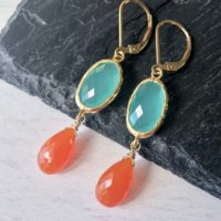 Aqua Chalcedony And Carnelian Earrings, Turquoise And Coral Statement Earrings, Blue And Orange Jewelry, Colorful Elegant Earrings For Women | Natural genuine Gemstone jewelry. Buy crystal jewelry, handmade handcrafted artisan jewelry for women.  Unique handmade gift ideas. #jewelry #beadedjewelry #beadedjewelry #gift #shopping #handmadejewelry #fashion #style #product #jewelry #affiliate #ad