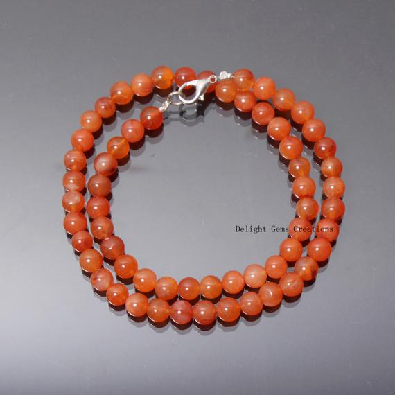 Carnelian Necklace, 7-7.5mm Genuine Carnelian Beaded Necklace, Orange Stone Necklace, Carnelian Necklace For Men And Women 18 Inch Necklace