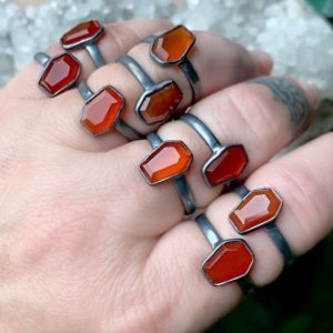 Shop Carnelian Rings! Carnelian Ring, Coffin Ring, Orange Stone Ring | Natural genuine Carnelian rings, simple unique handcrafted gemstone rings. #rings #jewelry #shopping #gift #handmade #fashion #style #affiliate #ad