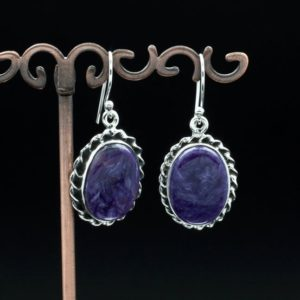 Shop Charoite Earrings! Sterling Silver Charoite Earrings   Natural genuine Charoite earrings. Buy crystal jewelry, handmade handcrafted artisan jewelry for women.  Unique handmade gift ideas. #jewelry #beadedearrings #beadedjewelry #gift #shopping #handmadejewelry #fashion #style #product #earrings #affiliate #ad