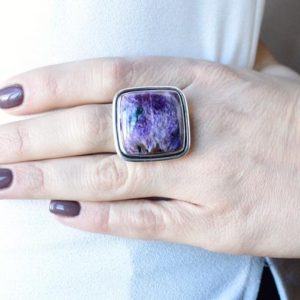 Shop Charoite Rings! Pretty in Purple Charoite Ring // Charoite Jewelry // Sterling Silver // Village Silversmith | Natural genuine Charoite rings, simple unique handcrafted gemstone rings. #rings #jewelry #shopping #gift #handmade #fashion #style #affiliate #ad