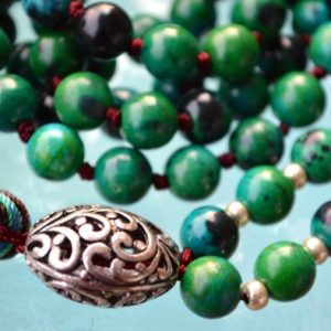 Shop Chrysocolla Necklaces! Chrysocolla Green & Blue Hand Knotted Mala Beads Necklace – Energized Karma Nirvana Meditation 8mm 108 Prayer Beads For Awakening Kundal | Natural genuine Chrysocolla necklaces. Buy crystal jewelry, handmade handcrafted artisan jewelry for women.  Unique handmade gift ideas. #jewelry #beadednecklaces #beadedjewelry #gift #shopping #handmadejewelry #fashion #style #product #necklaces #affiliate #ad