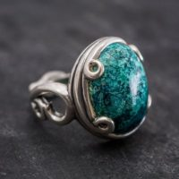 Artistic Blue Ring, Natural Chrysocolla, Vintage Rings, Sagittarius Birthstone, Large Stone Ring, Solid Silver Ring, Blue Ring, Chrysocolla | Natural genuine Gemstone jewelry. Buy crystal jewelry, handmade handcrafted artisan jewelry for women.  Unique handmade gift ideas. #jewelry #beadedjewelry #beadedjewelry #gift #shopping #handmadejewelry #fashion #style #product #jewelry #affiliate #ad