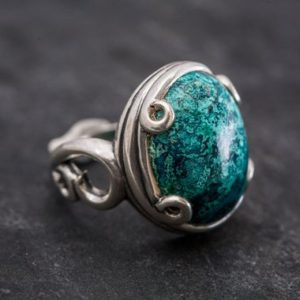 Shop Chrysocolla Rings! Artistic Blue Ring, Natural Chrysocolla, Vintage Rings, Sagittarius Birthstone, Large Stone Ring, Solid Silver Ring, Blue Ring, Chrysocolla   Natural genuine Chrysocolla rings, simple unique handcrafted gemstone rings. #rings #jewelry #shopping #gift #handmade #fashion #style #affiliate #ad