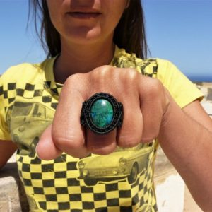 Shop Chrysocolla Rings! Chrysocolla Jewelry Natural Stone Ring, One Of A Kind Macrame Spiritual Gift For Women.   Natural genuine Chrysocolla rings, simple unique handcrafted gemstone rings. #rings #jewelry #shopping #gift #handmade #fashion #style #affiliate #ad