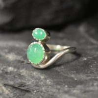 Chrysoprase Ring, Natural Chyrsoprase, Bohemian Ring, Two Stone Ring, Asymmetric Ring, Curvy Ring, Unique Ring, 925 Silver Ring, Chrysoprase | Natural genuine Gemstone jewelry. Buy crystal jewelry, handmade handcrafted artisan jewelry for women.  Unique handmade gift ideas. #jewelry #beadedjewelry #beadedjewelry #gift #shopping #handmadejewelry #fashion #style #product #jewelry #affiliate #ad