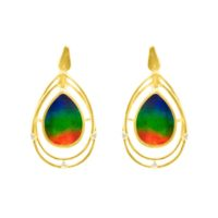 Ammolite Natural Ammolite Aaa 14k Gold Diamond Earring | Natural genuine Gemstone jewelry. Buy crystal jewelry, handmade handcrafted artisan jewelry for women.  Unique handmade gift ideas. #jewelry #beadedjewelry #beadedjewelry #gift #shopping #handmadejewelry #fashion #style #product #jewelry #affiliate #ad