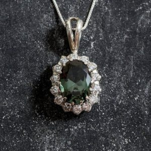 Shop Diamond Pendants! Green Pendant, Green Diamond Pendant, Created Diamond, Statement Pendant, Green Gem Pendant, Princess Di Pendant, Silver Pendant, Diamond | Natural genuine Diamond pendants. Buy crystal jewelry, handmade handcrafted artisan jewelry for women.  Unique handmade gift ideas. #jewelry #beadedpendants #beadedjewelry #gift #shopping #handmadejewelry #fashion #style #product #pendants #affiliate #ad