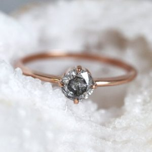 Shop Diamond Rings! Solitaire Salt Pepper Diamond Ring, Round Grey Diamond Ring Rose Gold, Round Solitaire Diamond Ring | Natural genuine Diamond rings, simple unique handcrafted gemstone rings. #rings #jewelry #shopping #gift #handmade #fashion #style #affiliate #ad
