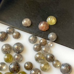 Shop Diamond Round Beads! 5 Pieces 3mm to 5mm Round Smooth Polished Diamond Cabochon, Grey/Yellow Smooth Flat Back Diamond For Jewelry, DDS729/4 | Natural genuine round Diamond beads for beading and jewelry making.  #jewelry #beads #beadedjewelry #diyjewelry #jewelrymaking #beadstore #beading #affiliate #ad