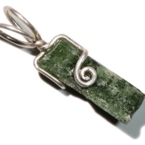 Shop Diopside Pendants! Raw Chrome Diopside Pendant (4.2 ct) Wire Wrapped Diopside Jewelry, Chrome Diopside Necklace, Silver Chrome Diopside Pendant Gift For Her | Natural genuine Diopside pendants. Buy crystal jewelry, handmade handcrafted artisan jewelry for women.  Unique handmade gift ideas. #jewelry #beadedpendants #beadedjewelry #gift #shopping #handmadejewelry #fashion #style #product #pendants #affiliate #ad