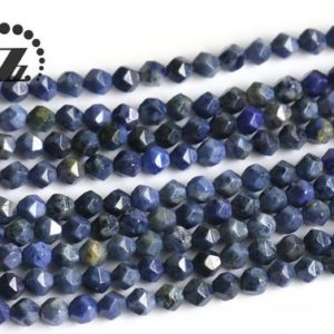 """Shop Dumortierite Beads! Blue Dumortierite Star Cut Faceted Beads,Natural,Gemstone,DIY Bead,6mm 8mm 10mm for choice,15"""" full strand 