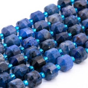 Shop Dumortierite Beads! Genuine Natural Dumortierite Loose Beads Faceted Bicone Barrel Drum Shape 8x7mm | Natural genuine faceted Dumortierite beads for beading and jewelry making.  #jewelry #beads #beadedjewelry #diyjewelry #jewelrymaking #beadstore #beading #affiliate #ad