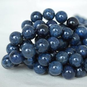 """Shop Dumortierite Beads! High Quality Grade A Natural Dumortierite Semi-precious Gemstone Round Beads – 4mm, 6mm, 8mm, 10mm sizes – Approx 15.5"""" strand 