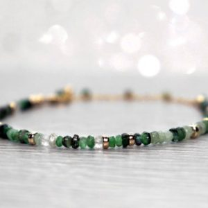 Shop Emerald Bracelets! Emerald Bracelet, Shaded Emerald Bracelet, May Birthstone Gift, Emerald Gift for Her, Gold or Sterling Silver Green Precious Stone Bracelet   Natural genuine Emerald bracelets. Buy crystal jewelry, handmade handcrafted artisan jewelry for women.  Unique handmade gift ideas. #jewelry #beadedbracelets #beadedjewelry #gift #shopping #handmadejewelry #fashion #style #product #bracelets #affiliate #ad