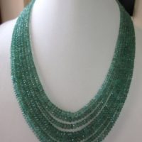 Multi Strand Emerald Beaded Necklace, Natural Emerald Faceted Rondelle Beads, 7 Strands, 2.5mm To 5mm Beads, Gds716 | Natural genuine Gemstone jewelry. Buy crystal jewelry, handmade handcrafted artisan jewelry for women.  Unique handmade gift ideas. #jewelry #beadedjewelry #beadedjewelry #gift #shopping #handmadejewelry #fashion #style #product #jewelry #affiliate #ad