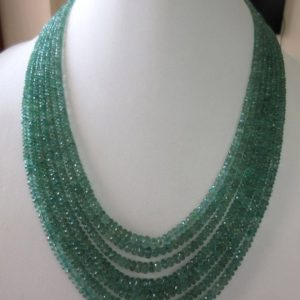 Shop Emerald Necklaces! Multi Strand Emerald Beaded Necklace, Natural Emerald Faceted Rondelle Beads, 7 Strands, 2.5mm To 5mm Beads, GDS716   Natural genuine Emerald necklaces. Buy crystal jewelry, handmade handcrafted artisan jewelry for women.  Unique handmade gift ideas. #jewelry #beadednecklaces #beadedjewelry #gift #shopping #handmadejewelry #fashion #style #product #necklaces #affiliate #ad