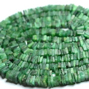 Shop Emerald Bead Shapes! 16 Inch Strand Natural Emerald Heishi Beads 3x3mm to 4x4mm Square Smooth Gemstone Heishi Beads Superb Emerald Beads Precious Stone No4665 | Natural genuine other-shape Emerald beads for beading and jewelry making.  #jewelry #beads #beadedjewelry #diyjewelry #jewelrymaking #beadstore #beading #affiliate #ad