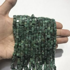 """Shop Emerald Bead Shapes! Emerald 3D Box Beads,Natural Emerald Smooth Cube Box Beads,Natural Emerald Cube Beads,Emerald Gemstone Cube Beads Size 5mm to 6mm 16"""" Strand 