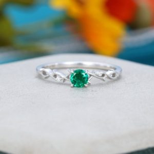 Emerald engagement ring vintage Unique Twig white gold engagement ring for women Solid 14K Antique diamond wedding Bridal Anniversary | Natural genuine Gemstone rings, simple unique alternative gemstone engagement rings. #rings #jewelry #bridal #wedding #jewelryaccessories #engagementrings #weddingideas #affiliate #ad