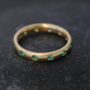 Emerald Eternity Band in 18K Gold – Emerald Eternity Ring   Natural genuine Gemstone rings, simple unique handcrafted gemstone rings. #rings #jewelry #shopping #gift #handmade #fashion #style #affiliate #ad