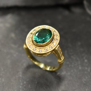 Shop Emerald Jewelry! Gold Emerald Ring, Gold Antique Ring, Gold Vintage Ring, Antique Emerald Ring, Antique Rings, Sterling Silver Ring, Created Emerald Ring | Natural genuine Emerald jewelry. Buy crystal jewelry, handmade handcrafted artisan jewelry for women.  Unique handmade gift ideas. #jewelry #beadedjewelry #beadedjewelry #gift #shopping #handmadejewelry #fashion #style #product #jewelry #affiliate #ad
