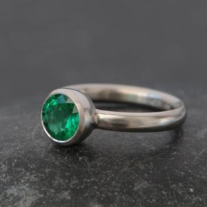 Emerald Ring in Platinum – Solitaire Emerald Ring – Natural Emerald Engagement Ring – Platinum Emerald Ring Hand Made to Order FREE SHIPPING | Natural genuine Array rings, simple unique alternative gemstone engagement rings. #rings #jewelry #bridal #wedding #jewelryaccessories #engagementrings #weddingideas #affiliate #ad