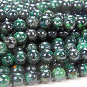 """Shop Emerald Round Beads! 6mm Emerald in Fuchsite Gemstone Genuine Natural Rare Green Grade Round Loose Beads 7.5"""" Half Strand (80006792 H-A210) 