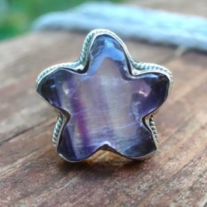 Shop Fluorite Rings! Star – Natural Fluorite Sterling Silver Star Rings, Purple, Green Fluorite 925 Silver Star Shaped Ring, Natural Fluorite Star Gemstone Ring | Natural genuine Fluorite rings, simple unique handcrafted gemstone rings. #rings #jewelry #shopping #gift #handmade #fashion #style #affiliate #ad
