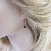 Garnet Earrings, Simple Drop Earrings With Natural Mozambique Garnet Briolettes, January Birthstone | Natural genuine Gemstone jewelry. Buy crystal jewelry, handmade handcrafted artisan jewelry for women.  Unique handmade gift ideas. #jewelry #beadedjewelry #beadedjewelry #gift #shopping #handmadejewelry #fashion #style #product #jewelry #affiliate #ad